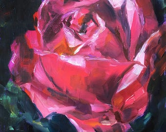 Rose, Pink, Oil Painting, Pretty Flowers. Square Art, Original Painting