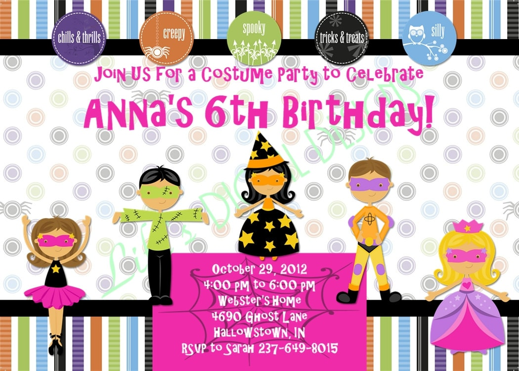 Halloween Birthday Invitations Costume Party Invitation Pink