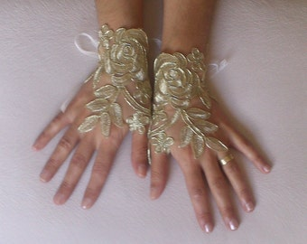 Gold Wedding gloves   bridal gloves  fingerless lace  gloves french lace gloves gauntlets guantes bohemian gold