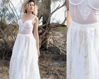 Faerie Dress - Up-cycled Bustier with Lace, Ivory and White Tattered Pixie Skirt Fairy Ensemble Fairy Costume Boho Dress