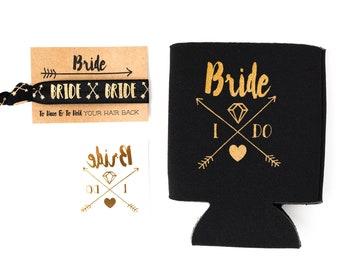 Black + Gold Boho Bride Bachelorette Gift Set   Gold Bride Tattoo, Hair Tie + Drink Cooler   Engagement Gift, Bachelorette Party Favor