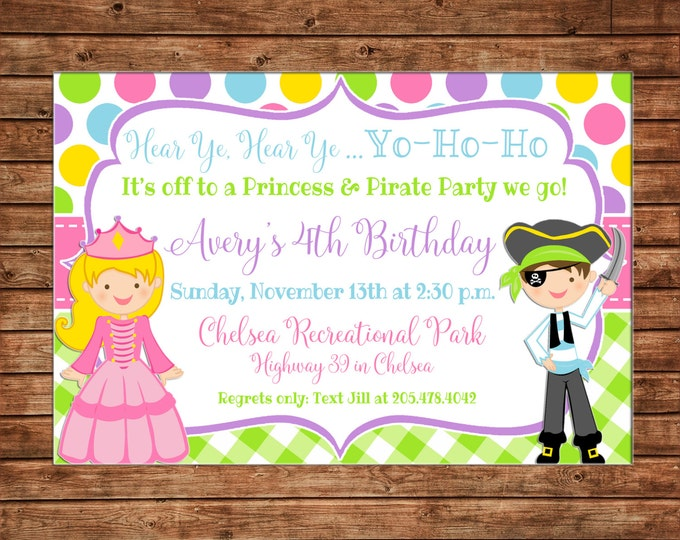 Boy or Girl Invitation Princess and Pirate Birthday Party - Can personalize colors /wording - Printable File or Printed Cards