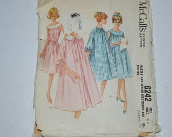 Vintage McCall's 6242 60s 1962 Misses' Yoked Nightgown And Matching Duster size 11 bust 31 1/2