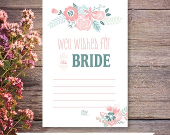 Newlywed Well Wishes, Bridal Shower Game Card INSTANT DOWNLOAD Wedding Shower Shabby Chic Floral Well Wishes for Bride DIY Printable