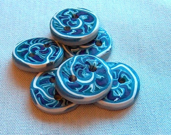 Blue and Purple Spiral Buttons No. 321