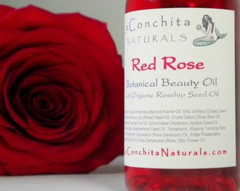 Natural Rose Body Oil with Organic Rosehip Seed Oil and Pure Essential Oils - Organic Skin Care -  2 oz bottle on Sale