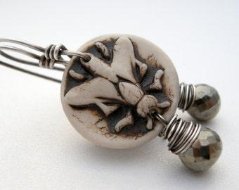 porcelain earrings, clay fly bead earrings, pyrite faceted stone earrings, gray earrings