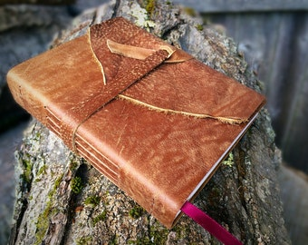 REAL LEATHER JOURNAL Brown Hand Torn Personalized Rustic Leather Journal Sketchbook Notebook Travel Gift Journal in Cowboy