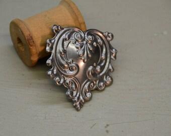 """1.75"""" steel heart with swirls"""