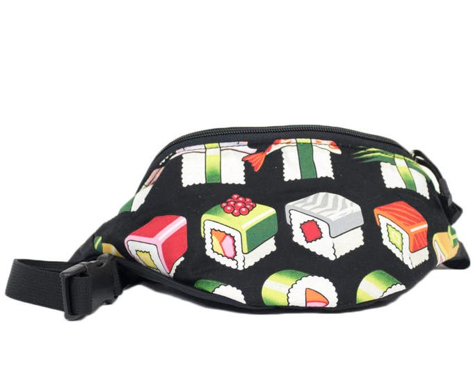 Fanny pack Whimsical Sushi  - Hip Waist Bag with 2 zippered pockets