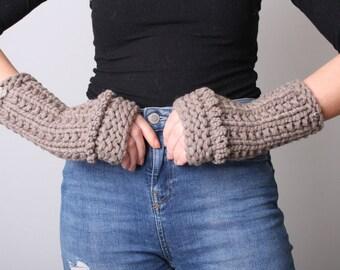 Fingerless Gloves, Beige, Women, Knit, Extra Chunky, Italian, Cashmere, Long Gloves, Beige, Women fingerless Gloves, Crochet, Gift for Her.