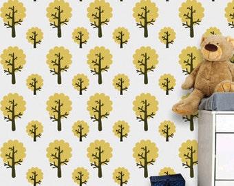 Easy nursery wall decor better than wall decals, DIY kids room stencil, KS-01
