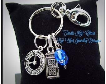 Dr Who Inspired Keychain Tardis with blue beads