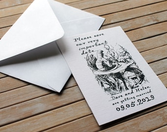 Alice in Wonderland Caterpillar with Hookah Personalised Save the Date White Linen Card or Magnet