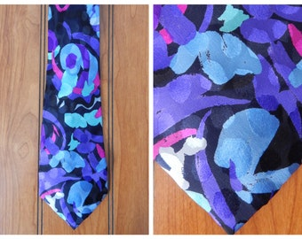 Men's Vintage 90s Dino Baldini 100% Silk Bold Modern Abstract Printed Neck Tie / Black Purple Teal / Made in Italy