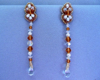 Beadwork earrings with pearls and crystals