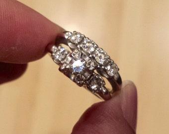 Vintage 14K White Gold Wedding and Engagement Diamond Ring, Size 8