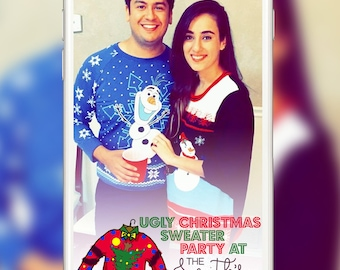 Christmas Party Snapchat Geofilters - Ugly Christmas Sweater Party Snapchat Geofilter - Christmas Party Snapchat Geotags - xmas Geofilter