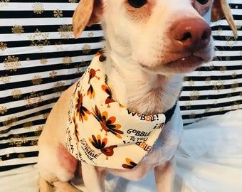 Thanksgiving Fall Harvest Dog or Pet Bandana/Scarf -  Gobble Till You Wobble Turkey Pattern - 6 Sizes!