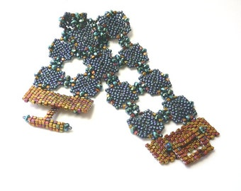 Arabesque beadweaving cuff bracelet tutorial and instructions: Instant Downloadable Pattern PDF File