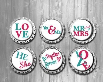 Couple Love Word Art Bottle Cap Magnets - Set of 6