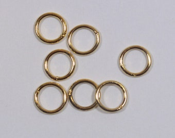 8mm Closed Jump Rings - Gold Plated - Choose Your Quantity