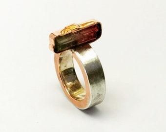 RiCrea tourmaline silver-copper ring