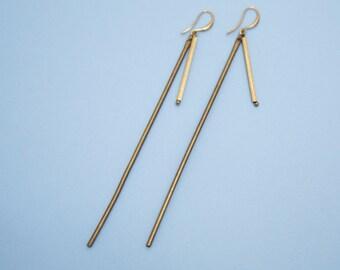 Elegant Reconstructed / Handmade Long Drop Brass Tube Earrings