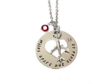 Long Distance Necklace Birthstone Included Miles Apart But Close At Heart Stainless Steel Heart Hole Washer Graduation Travel jewelry