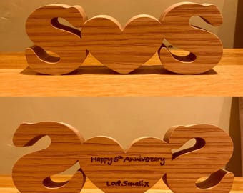 5th wedding anniversary personalized with your initials. Wooden initials and heart. Personal measage in pyrography.