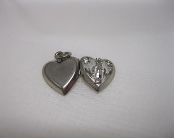 Vintage Virgin Mary Heart Locket Pendant Sterling Silver Religious Catholic Etched