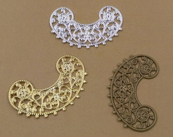 100PCS Brass 18x30mm Filigree Floral Base Setting Raw Brass/ Antique Bronze/ Silver/ Gold Plated Filigree Components Stamping