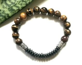 Classic men's beaded bracelet// tiger eye gemstone bracelet//mens stretch bracelet// hematite bracelet//chakra bracelet