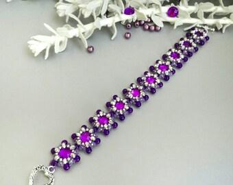 Wedding Ultra Violet Purple Beaded Bracelet for Bridesmaid Beadwork Seed Bead Bracelet Inspirational Birthday Gift for Women for Girl