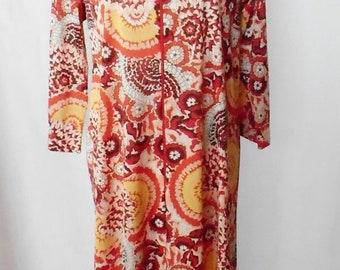 Vintage 1960s 1970s Lorraine Housedress, Vintage Lorraine Housecoat, Small Lorraine House Dress, Vintage Lorraine Robe, Full Length Robe