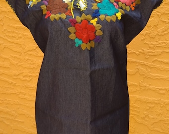 Mexican Embroidered Blouse Mexican Blouse Mexican Denim Top Handmade Blouse Peasant Blouse Sleeveless Floral Embroidery