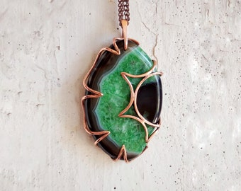 Large heady wire wrap pendant with green black druse agate Copper wrapped boho necklace Minimalist weave rustic jewelry for mens and womens.