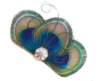 ZAZA in Peacock Blue Hair Clip, Fascinator