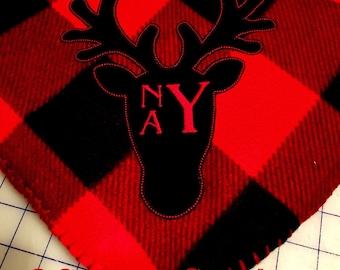 Monogrammed Buffalo Plaid Fleece Throw Blanket
