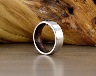 Men's Wedding Band, Cobalt and American black walnut, Men's Wedding Ring, Women's Wedding Ring, Men's Ring, Wedding Band, Straight  Edge