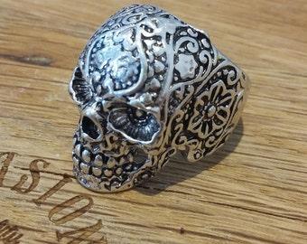Sugar Skull ring size 8 blossom, day of the dead