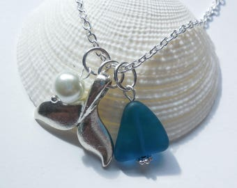 Teal Sea Glass Necklace, Sea Glass Jewelry, Beach Glass Necklace, Beach Glass Jewelry, Whale's Tail, bridesmaid necklace, beach wedding.