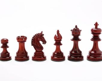 "The Indian Chetak II Customized Staunton Chess Set in Bud Rose Wood & Box Wood - 4.2"" King.SKU: VJ033"