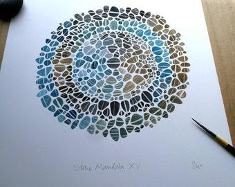 Stone Mandala XV original drawing
