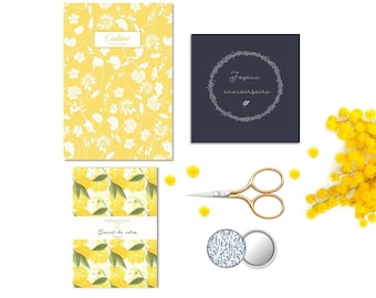 Yellow and blue gift set: 1 + 1 + 1 cahier journal card greeting + 1 mirror