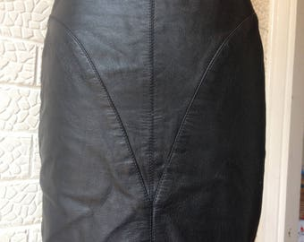 1980s Black faux leather high waist skirt