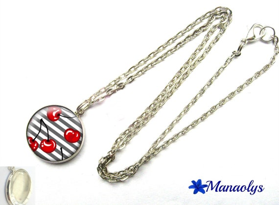 Cherry glass cabochon silver plated chain necklace