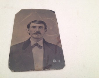 Antique Tin Photo Man with Mustache