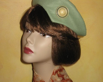 1940s Womens Vintage Hat Beret Pattern Felt Beret With Button Trim Instant Download Easy To Make