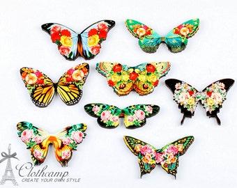 Handmade Wooden Flower Butterflies Collection Charms / Pendants (WO-A)
